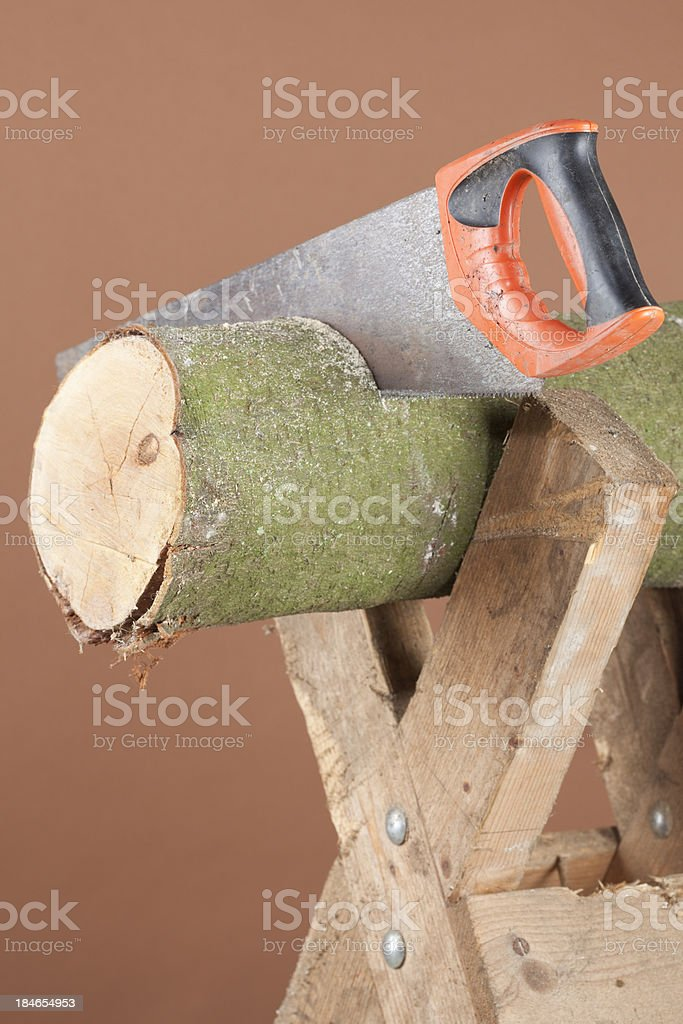 Log With Handsaw royalty-free stock photo