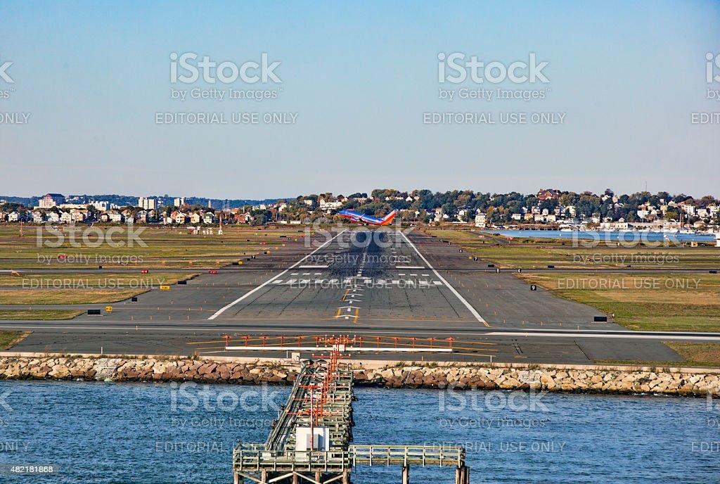 Logan Airport 33L Runway in Boston, Massachusetts stock photo