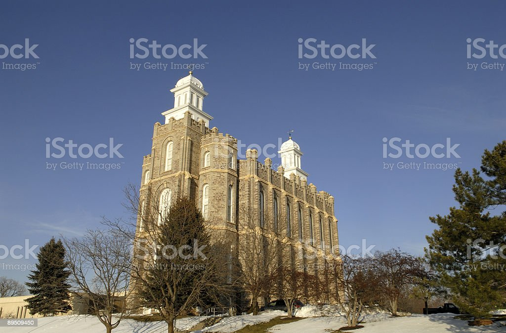Logan Utah Temple in the Winter with Blue Sky royalty-free stock photo