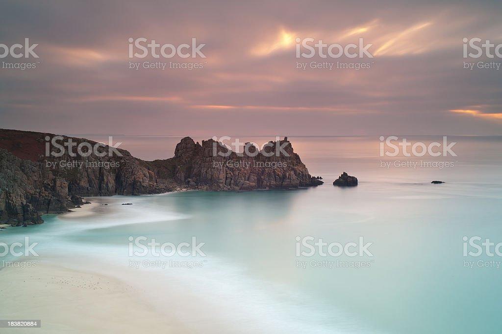 Logans Rock at sunrise stock photo