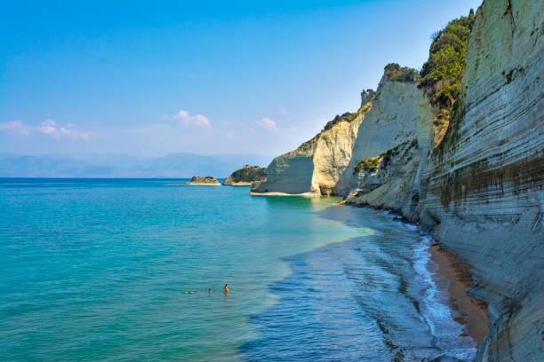 Loggas beach, Peroulades, Corfu island, Greece stock photo