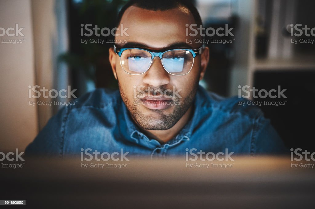 Logged into the night shift royalty-free stock photo