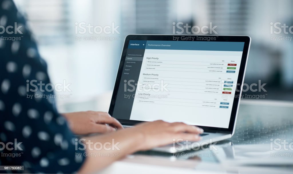 Logged into work productivity stock photo
