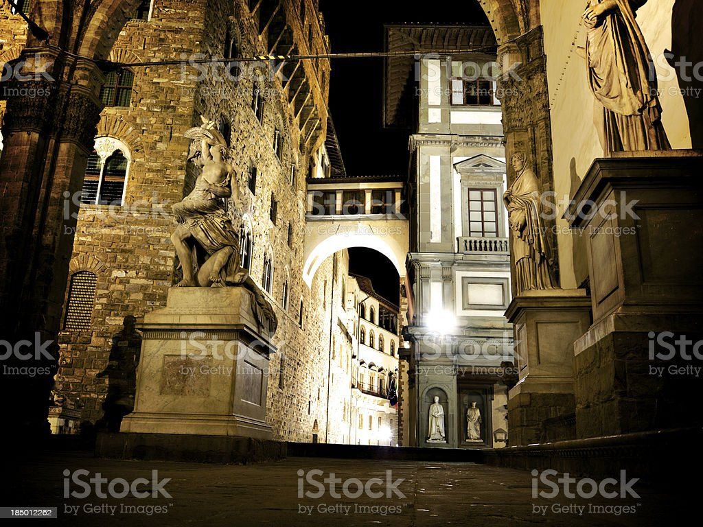 Loggia dei Lanzi beside the Uffizi in Florence stock photo