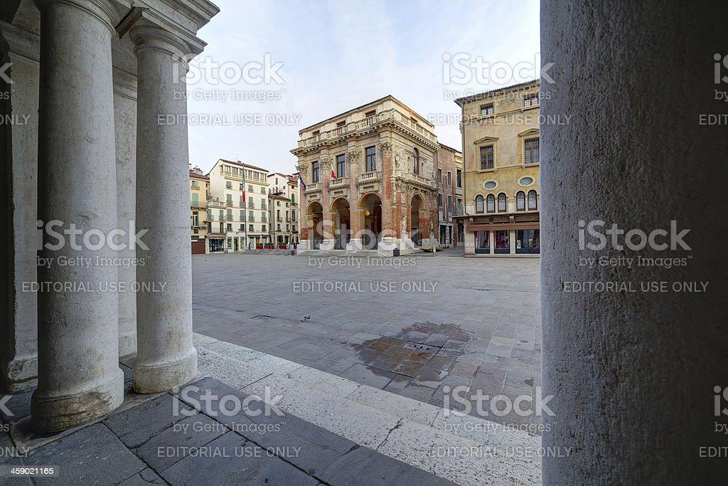 Loggia del Capitaniato framed view from Palladio Basilica colonnade. Vicenza-Italy. stock photo
