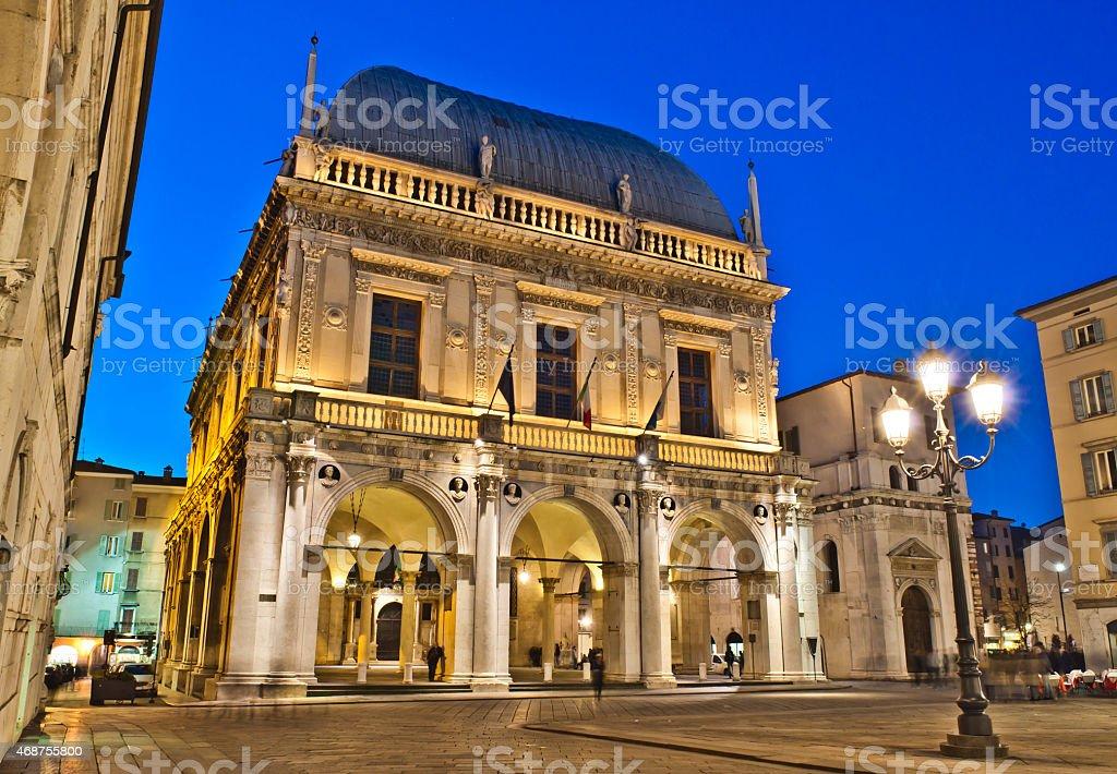 Loggia Square, Brescia, Italia - foto stock