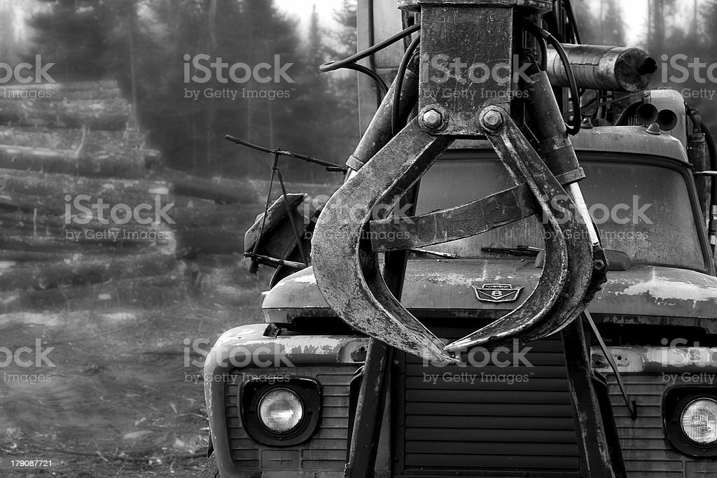 Logging Truck, Black & White royalty-free stock photo