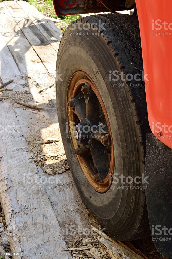 Logging Truck Tire and Fender stock photo