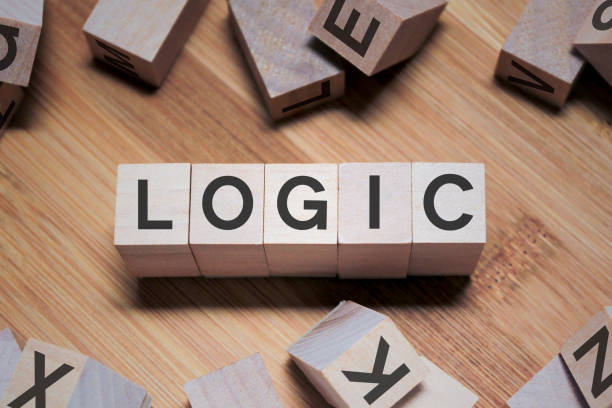 Logic Word In Wooden Cube stock photo