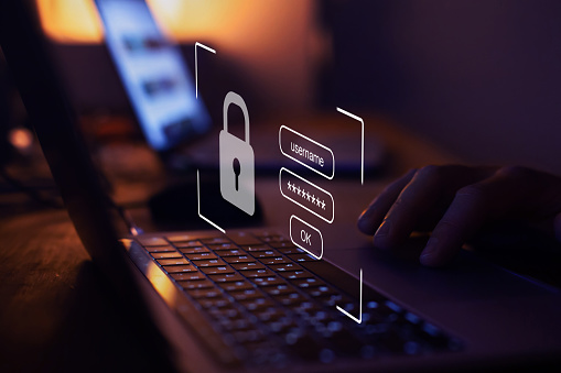 user typing login and password, cyber security concept, data protection and secured internet access, cybersecurity