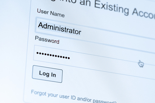 istock Login and password fields on screen. Security business concept 1137973761
