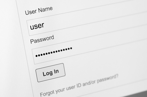 istock Login and password fields on screen. Security business concept 905301012