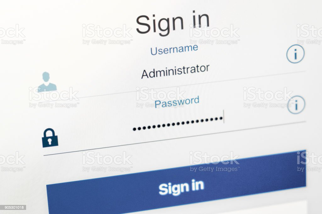Login and password fields on screen. Security business concept stock photo