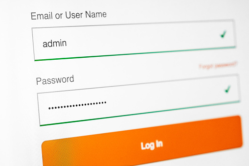 istock Login and password fields on screen. Security business concept 905301044