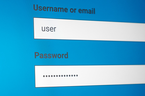 istock Login and password fields on screen. Security business concept 959223360