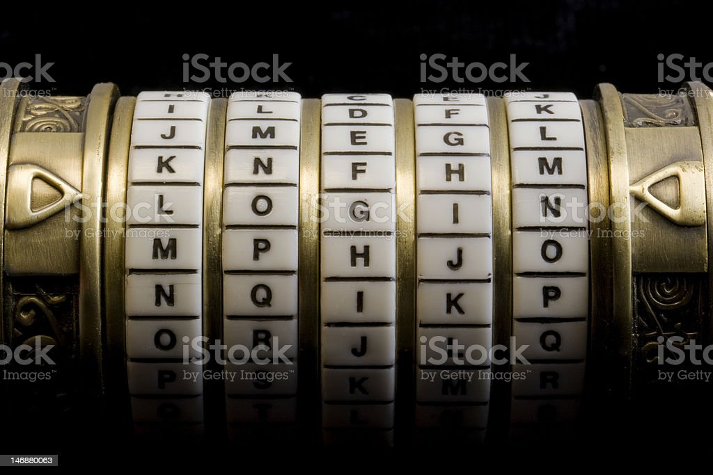 login as a password to combination puzzle box (cryptex) royalty-free stock photo