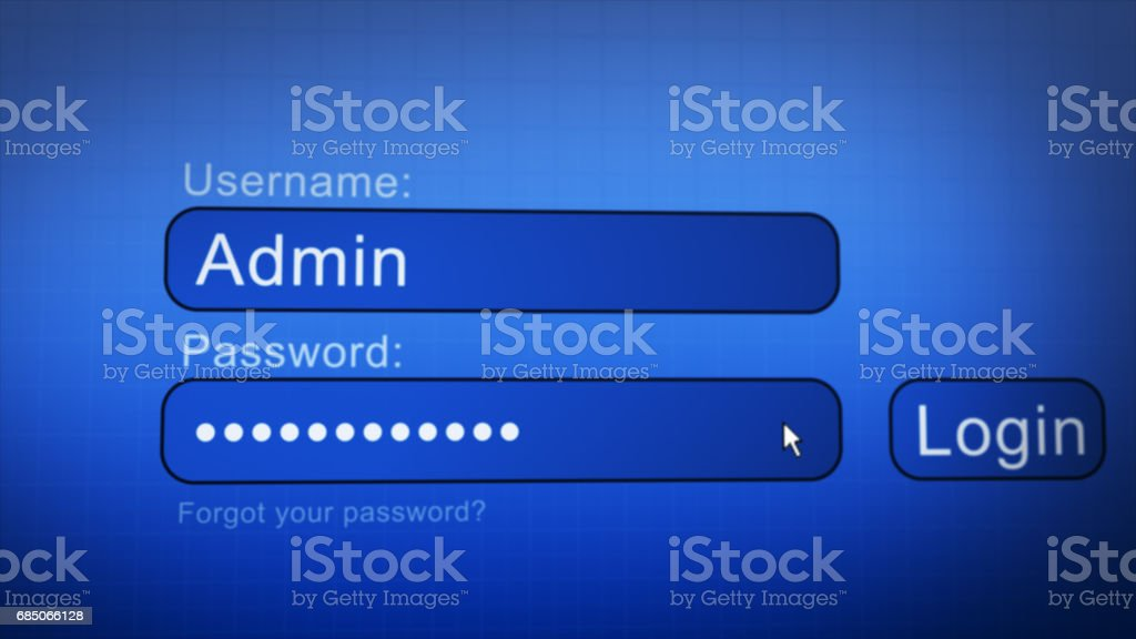 Login Box - Username and Password in Internet Browser on Computer Screen stock photo