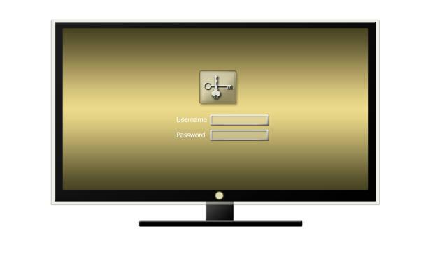 login in TV media stock photo