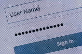 Close up view on the Login page at the computer screen