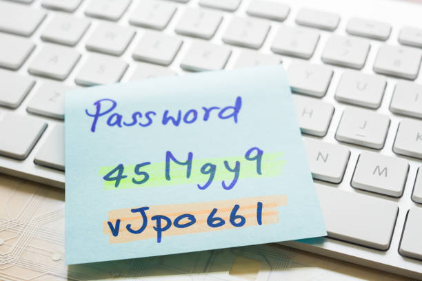 Login password on paper note and keyboard. stock photo