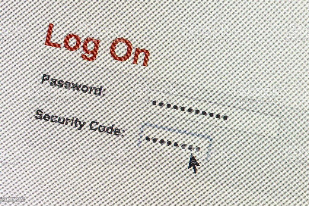 Login process on computer screen royalty-free stock photo