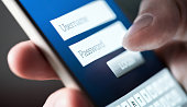 Login with smartphone to Username and password. Registration to website. Personal security. Online bank or personal information. Identity theft, scam or fraud. Macro close up of phone screen.