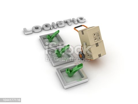 537516368 istock photo Logistic Check List with Hand Truck - 3D Rendering 1044177116