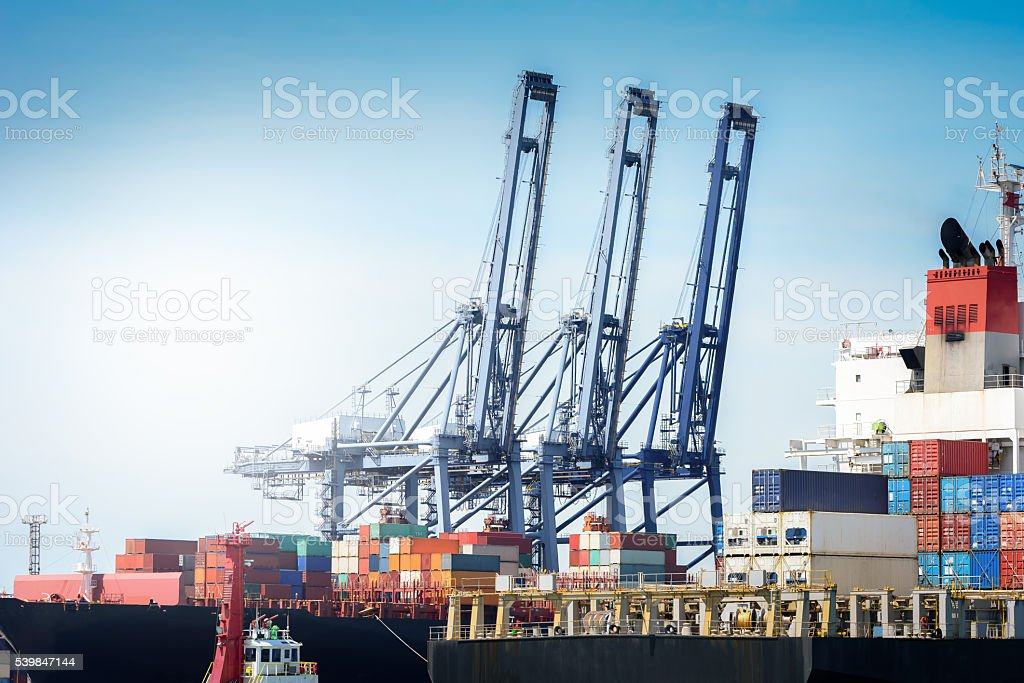 Logistic Import Export background concept. stock photo