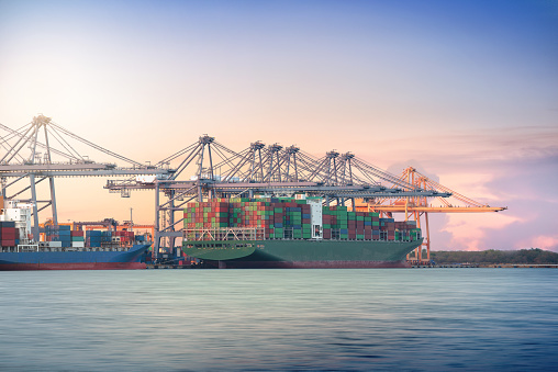 637816284 istock photo Logistic Import Export background, Container Cargo freight ship 529066126