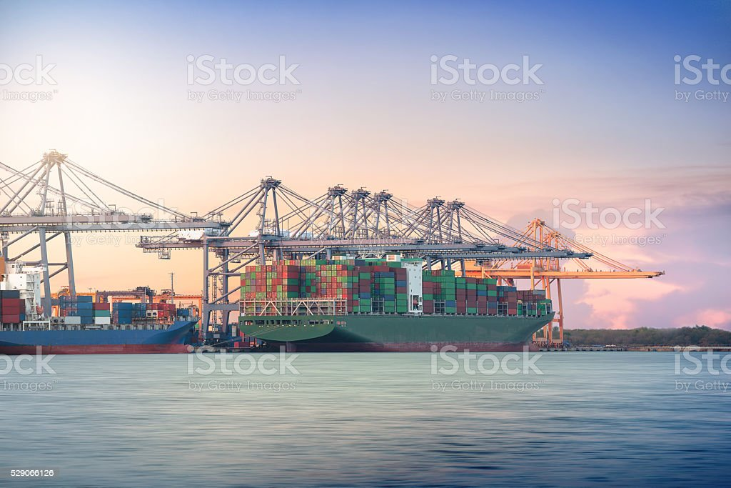 Logistic Import Export background, Container Cargo freight ship stock photo