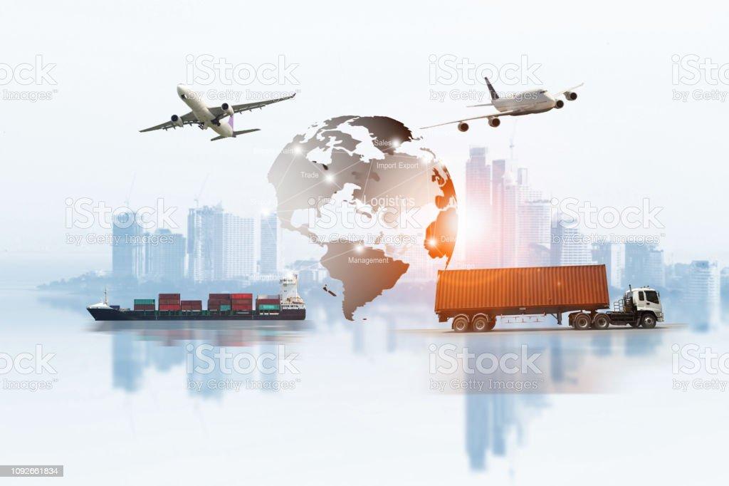 Transportation, import-export, logistic, shipping business management