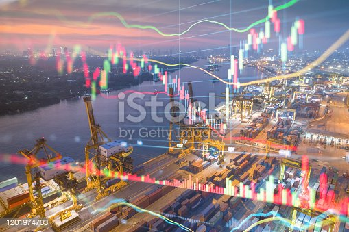 istock Logistics and import export Theme of Stockmarket and financial economic background 1201974703
