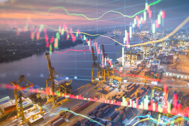 Logistics and import export Theme of Stockmarket and financial economic background stock photo