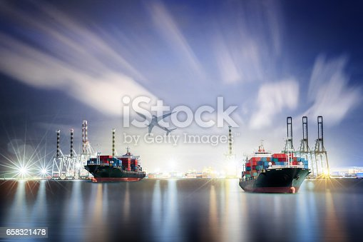 693774520istockphoto Logistics and transportation Container Cargo ship and Cargo plane with working crane bridge in shipyard background, logistic import export background and transport industry. 658321478