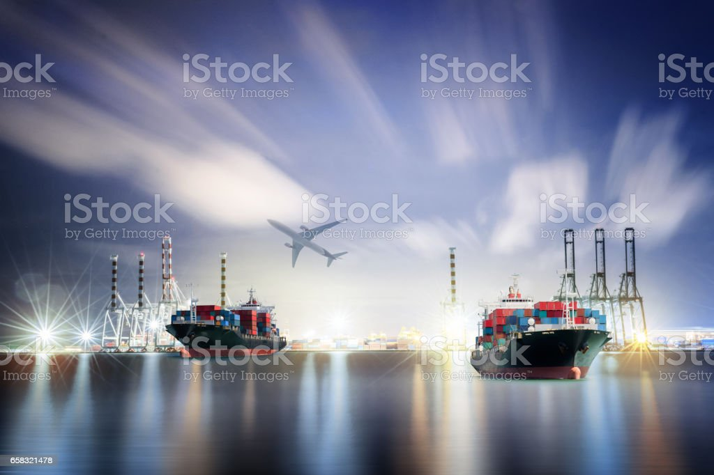 Logistics and transportation Container Cargo ship and Cargo plane with working crane bridge in shipyard background, logistic import export background and transport industry. stock photo