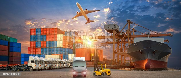istock Logistics and transportation of Container Cargo ship and Cargo plane with working crane bridge in shipyard at sunrise, logistic import export and transport industry background 1092000696