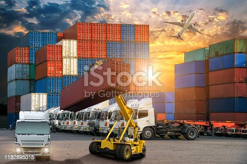 istock Logistics and transportation of Container Cargo ship and Cargo plane with working crane bridge in shipyard, logistic import export and transport industry background 1132895015