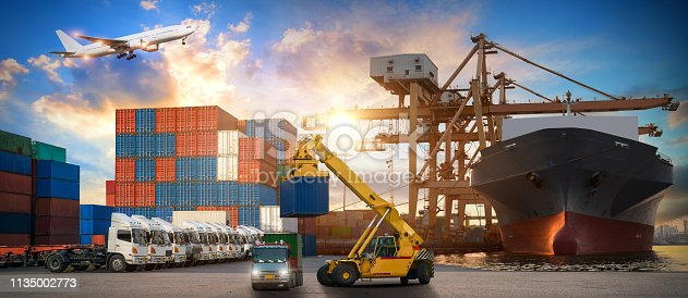 istock Logistics and transportation of Container Cargo ship and Cargo plane with working crane bridge in shipyard at sunrise, logistic import export and transport industry background 1135002773