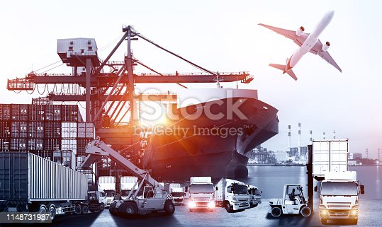 istock Logistics and transportation of Container Cargo ship and Cargo plane with working crane bridge in shipyard at sunrise, logistic import export and transport industry background 1148731987