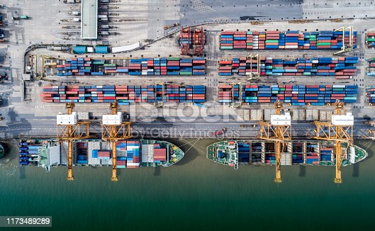 istock Logistics and transportation of Container Cargo ship and Cargo plane with working crane bridge in shipyard at sunrise, logistic import export and transport industry background 1173489289