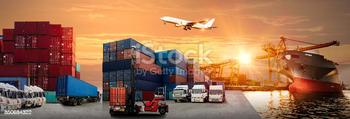 istock Logistics and transportation of Container Cargo ship and Cargo plane with working crane bridge in shipyard 850684322