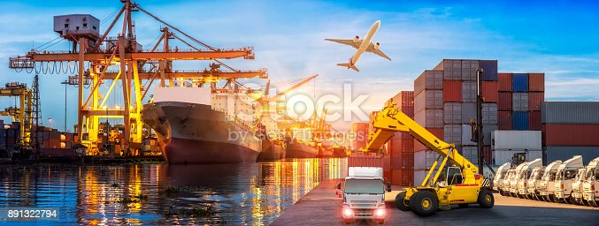 istock Logistics and transportation of Container Cargo ship and Cargo plane with working crane bridge in shipyard at sunrise, logistic import export and transport industry background 891322794