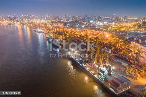 Logistics and transportation of Container Cargo ship and Cargo with working crane bridge in shipyard at sunrise, logistic import export and transport industry background