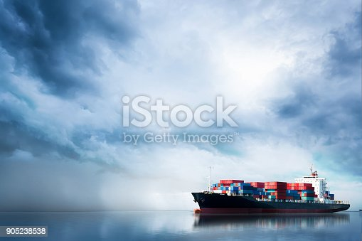 istock Logistics and transportation of International Container Cargo ship in the ocean, Freight Transportation, Shipping 905238538
