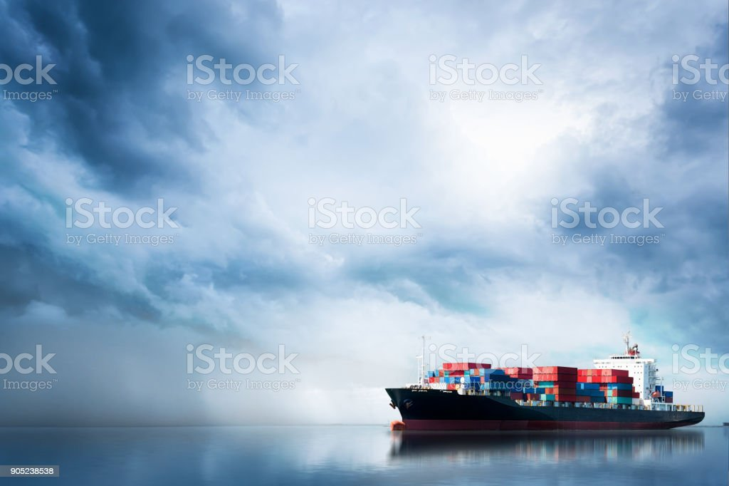 Logistics and transportation of International Container Cargo ship in the ocean, Freight Transportation, Shipping stock photo