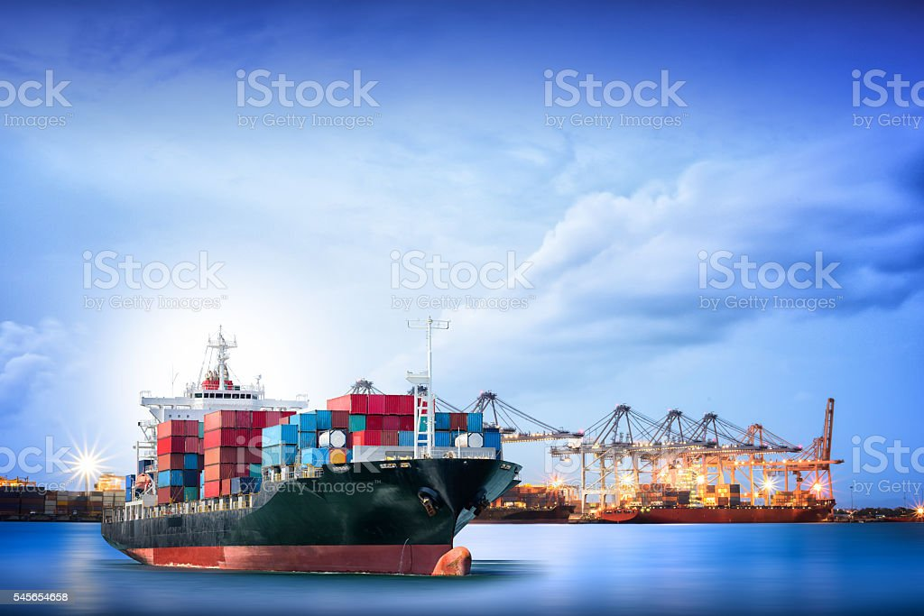 Logistics and transportation of International Container Cargo ship stock photo