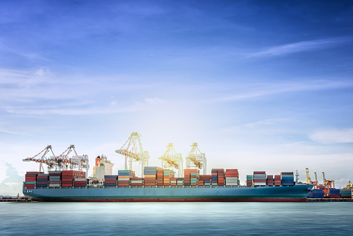 637816284 istock photo Logistics and transportation of International Container Cargo ship 600396832