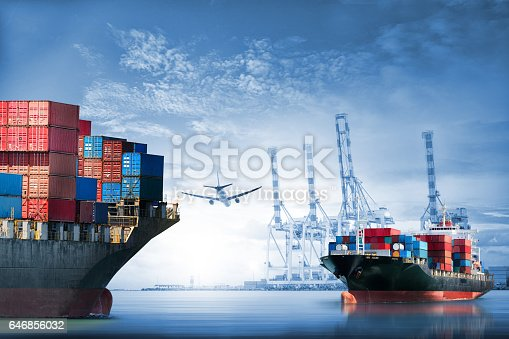 693774520istockphoto Logistics and transportation of International Container Cargo ship and cargo plane in the ocean at twilight sky, Freight Transportation, Shipping 646856032