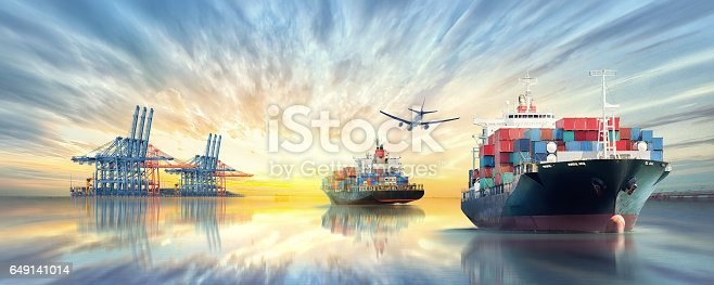 693774520 istock photo Logistics and transportation of International Container Cargo ship and cargo plane in the ocean at twilight sky, Freight Transportation, Shipping 649141014