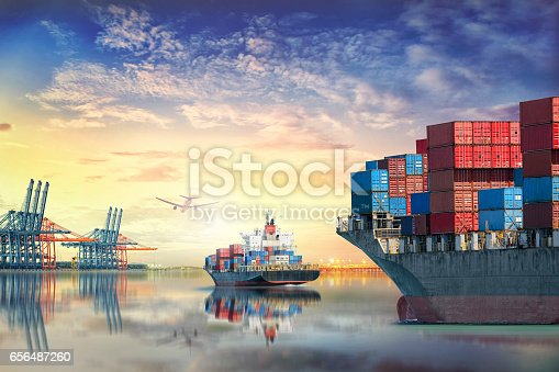 693774520 istock photo Logistics and transportation of International Container Cargo ship and cargo plane in the ocean at twilight sky, Freight Transportation, Shipping 656487260
